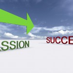 """Words """"success"""" and """"passion"""" spelled out with green arrow pointing passion in path of success"""