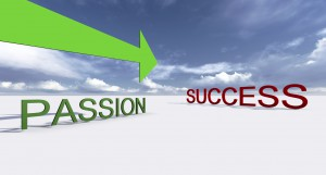"Words ""success"" and ""passion"" spelled out with green arrow pointing passion in path of success"
